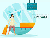 New Air Travel Rules Fly Safe Based Poster Design with Young Tourist Woman at Airport. Avoid Coronavirus.