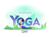 International Yoga Day Text with Cartoon Young Woman Practicing Bhujangasana Yoga Pose on Nature View.