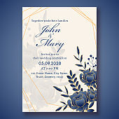 Wedding Invitation Card Template Layout Decorated with Blue Rose Flowers and Leaves and Event Details.