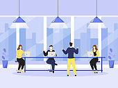 Business People Discussing Each Other At Workplace With Maintaining Social Distance For Avoid Coronavirus (Covid-19).