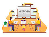 Business People Maintaining Social Distance During Work Together At Workplace On Abstract Background For Avoid Coronavirus (covid-19).