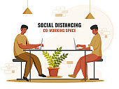 Illustration Of Co-Working Men Using Laptop At Workplace With Maintaining Social Distance To Prevent From Coronavirus.