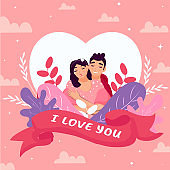 Young Boy Hugging Girlfriend From Behind with I Love You Message Text in Ribbon on Nature View Pink Cloud Background.