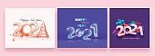 2021 Happy New Year Celebration Poster Design Set With 3D Xmas Tree And Gift Boxes Illustration.