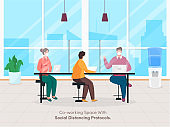 Business People Coworking Spaces With Maintaining Social Distance To Protect From Spreading Of Coronavirus (Covid-19).