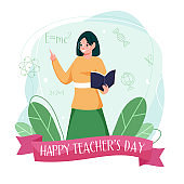 Female Teacher Holding Book with Index Finger and Green Leaves on White Background for Happy Teacher's Day.