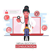 Virtual Doctor's Consultation Concept Based Poster Design With Cartoon Woman Doctor Examining Patient By Stethoscope In Laptop.