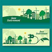 Save Environment Concept Based Header or Banner Design Set with Eco City View.
