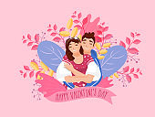 Young Boy Hugging Girlfriend From Behind on Nature View Pink Background for Happy Valentine's Day Celebration.