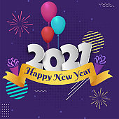Paper Cut 2021 Number with Colorful Balloons and Party Poppers on Purple Halftone Background for Happy New Year Celebration.
