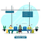 Cartoon People Wearing Protective Mask Maintain Social Distance on Seat of Airport Departures to Prevent from Coronavirus.