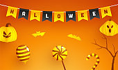 Glossy Orange Background Decorated with Bunting Flag of Halloween Text, Spooky Paper Pumpkins, Bats Flying, Bare Tree, Balloon, Candy Cane and Lollipop Illustration.