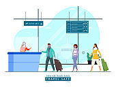 Passenger People Wear Protective Masks in Front of Airport Reception Counter with Maintaining Social Distance for Avoid Coronavirus.