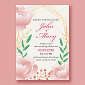 Wedding Invitation Card Template Layout Decorated with Pink Rose Flowers and Leaves.