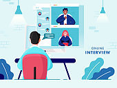 Back View of Businessman having Video Conference from People in Computer for Online Interview, Job Vacancy.