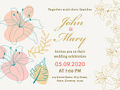 Wedding Invitation Card or Poster Design Decorated with Line Art Flowers and Leaves.
