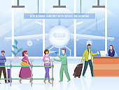 Check Body Temperature Before Entering Airport with Sanitize of Travelers Maintain Social Distance in Front of Reception Counter for Avoid Coronavirus Pandemic.