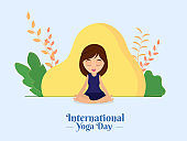 Beautiful Girl Meditating in Lotus Pose with Abstract Nature View for International Yoga Day.