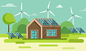 Rural Area Or Countryside View with House Illustration, Solar Panels and Windmills on Green Nature Background.