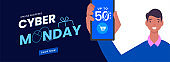 Cyber Monday Header or Banner Design with Man Showing Smartphone and 50% Discount Offer for Sale.