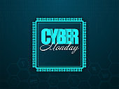 Cyber Monday Text on Paper Cut Chip and Teal Green Hexagon Pattern Background.