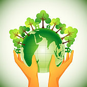 Human Hand Protection 3D Earth Globe with Trees and Green House on Glossy Background.