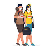 Cartoon Young Boy and Girl Wear Medical Mask with Holding Bags, Camera on White Background.