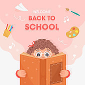 Welcome Back To School Poster Design with Cute Girl Reading a Book and Education Supplies Elements on Pink and White Background.