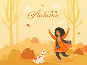 Cheerful Cute Girl with Dog Character on Nature Background for Hello Autumn. Can be used as poster or banner design.