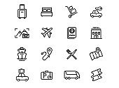 Travel and vacation in another country. Linear icons set. Outline symbols pack