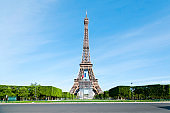 Tour Eiffel and Champ de Mars empty, without people or tourists..