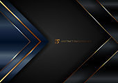 Abstract elegant blue geometric triangle overlap layers with stripe golden line and lighting on black background