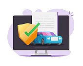 Online car insurance coverage protection contract document vector, auto vehicle guarantee assurance legal policy digital shield vector flat illustration, automobile warranty safety agreement