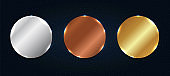 Set of abstract copper, silver, gold shiny metallic circle label or badges with particles elements on dark blue background