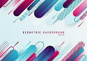 Abstract blue and pink geometric rounded line diagonal pattern on white background