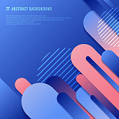 Abstract blue and pink geometric rounded line diagonal dynamic overlapping background