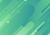 Abstract modern green color diagonal geometric rounded lines shapes background