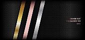 Abstract shiny metallic golden, pink gold, silver stripe diagonal on black premium background