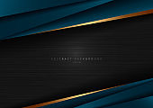 Abstract template dark blue luxury premium on black background with geometric triangles pattern and golden striped lines.