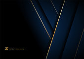 Abstract template blue geometric diagonal with golden border on black background