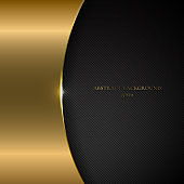 Abstract template gold metallic curve on black background and texture.
