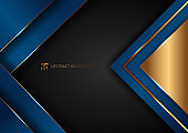 Abstract elegant blue geometric overlap layers with stripe golden line and lighting on black background.