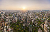 Aerial view of Sathorn district, Bangkok Downtown Skyline. Thailand. Financial district and business centers in smart urban city in Asia. Skyscraper and high-rise buildings at sunset.