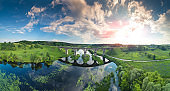 Panoramic view of the Old Arched Stone Railway Viaduct Bridge over the river. City Novograd-Volynsky, Ukraine, Europe