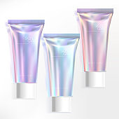 Vector Pastel Holographic Tube Packaging Illustration for Beauty, Toiletries, Body Care, Skin Care or Healthcare Products. Purple, Pink & Blue Color.