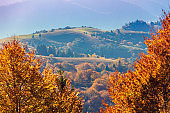 Silhouette of mountains in the early misty morning. View of the mountains in autumn. Beautiful nature landscape. Carpathian mountains. Ukraine