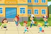 illustration of kids infront of school building