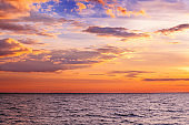 Seascape in the evening. Sunset over the sea. Beautiful nature