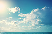 Cloudy dramatic sky over the sea. The texture of the sky. Abstract nature background