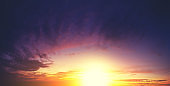 Dramatic colorful cloudy sky at sunset. Gradient color. Sky texture, abstract nature background